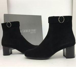 La canadienne Black Suede Women's Ankle Boots